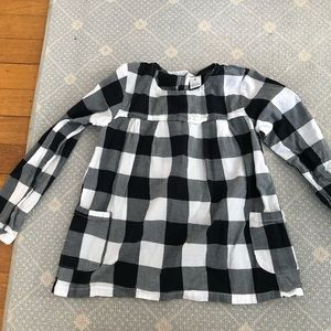 Black and white gingham checked shirt w/ pockets